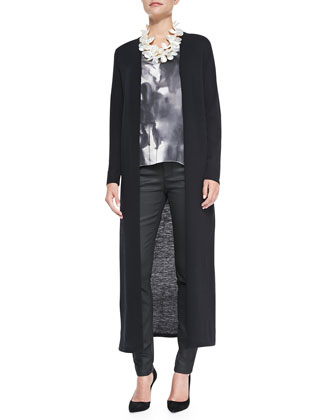 Washable Wool Crepe Extra Long Cardigan, Brushstroke-Print Long Tank & ...