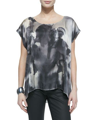 Brushstroke-Print Long Tank, Women's