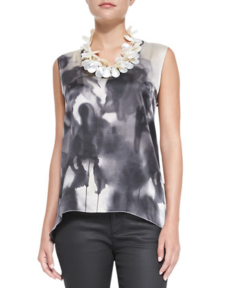 Brushstroke-Print Long Tank