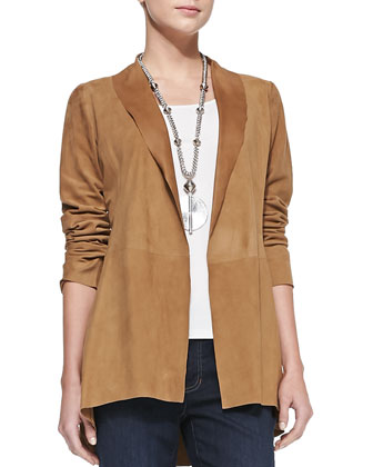 Soft Suede Long Jacket, Long Slim Camisole & Slim Stretch Ankle Jeans ...