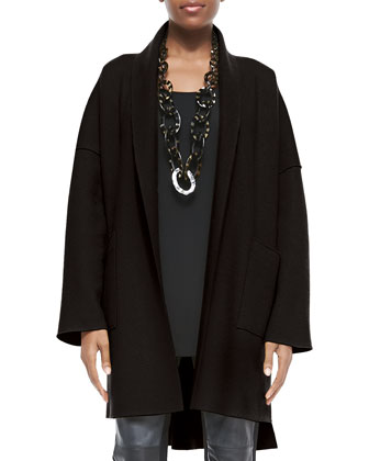 Boiled Wool Kimono Coat, Long Silk Jersey Tunic & Ponte Leather-Blocked ...