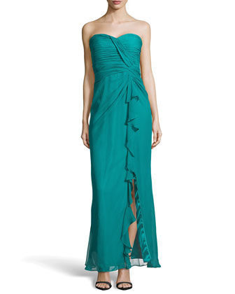 Shirred Chiffon Strapless Gown, Cerulean