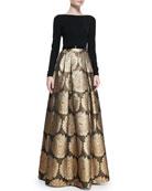 Long-Sleeve Jacquard Skirt Gown