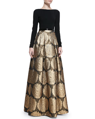 Long-Sleeve Jacquard Skirt Gown
