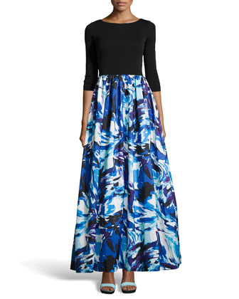 Long-Sleeve Printed-Skirt Ball Gown
