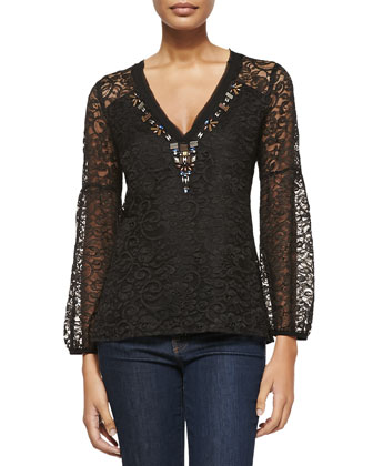 Starstruck Bead-Trim Lace Blouse
