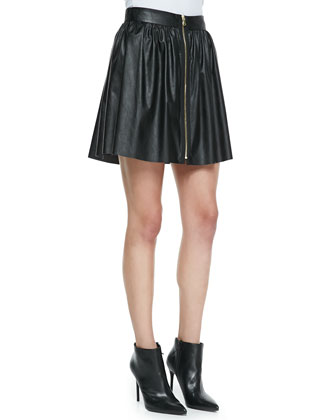 Finn Silk Leather-Trim Crewneck Top & Jett Pleated Faux-Leather Skirt