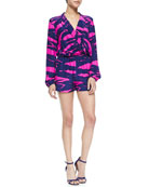 Jessika Silk Printed Short Jumpsuit