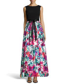 Knit-Top Printed-Skirt Ball Gown