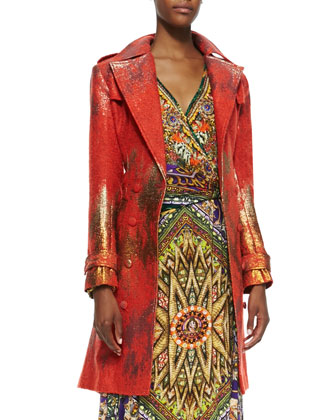 Metallic-Print Trench Coat & Jersey Printed Wrapped Maxi Dress