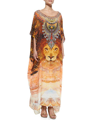 Lion-Print Beaded Silk Caftan Coverup