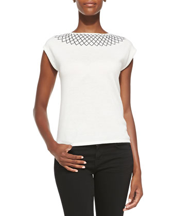 Embellished Collar Cashmere Top
