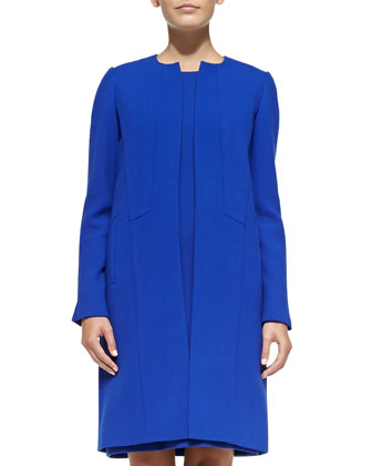 Soraya Seamed Open-Front Coat & Esther Sleeveless Seamed Shift Dress