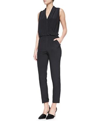 Odella Solid Jersey Jumpsuit, Black