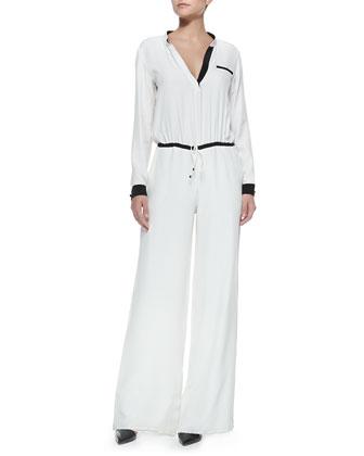 Maxen Combo Silk Jumpsuit, Ivory