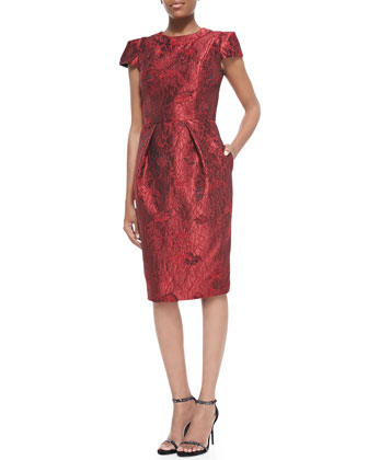 Cap-Sleeve Brocade Cocktail Dress