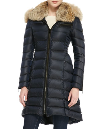 Bee Puffer Coat with Fur Collar