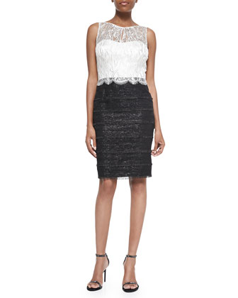 3/4-Sleeve Cropped Lace-Shoulder Jacket & Sleeveless Lace-Bodice Sheath Dress