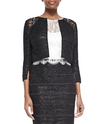 3/4-Sleeve Cropped Lace-Shoulder Jacket
