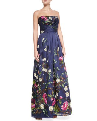 Strapless Floral-Print Gown