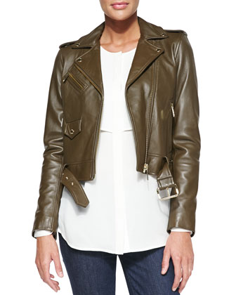 Cropped Leather Moto Jacket & Double-Layer Long-Sleeve Blouse
