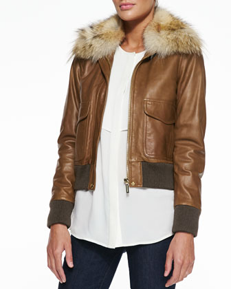 Fur-Trim Bomber Jacket