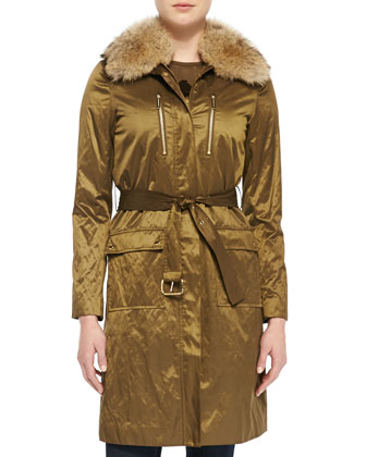 Shiny Fur-Collar Puffer Coat