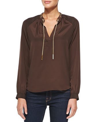Chain-Neck Blouse