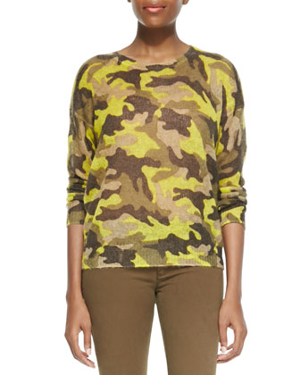 Camo-Print Knit Sweater