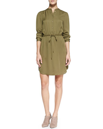Drawstring-Waist Flowy Shirtdress