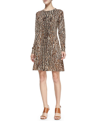 Flared Leopard-Print Dress