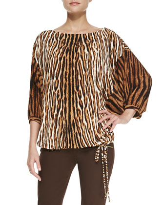 Mixed-Print Batwing Top, Women's