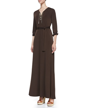 Lace-Up-Front Maxi Dress, Women's