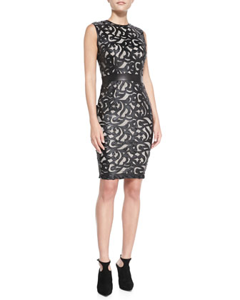 Sleeveless Laser-Cut Leather Dress
