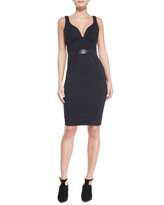 Sleeveless Leather-Waist Sheath Dress