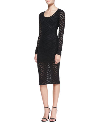 Long-Sleeve Chevron Lace Sheath Dress