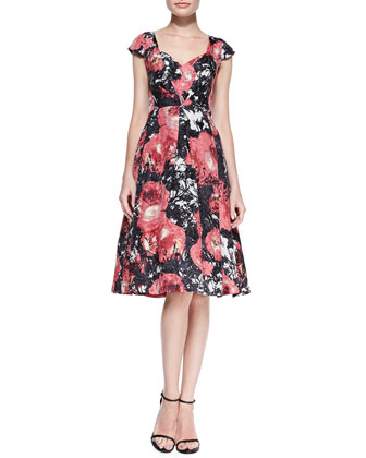 Cap-Sleeve Flared Floral-Print Dress