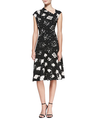 Cap-Sleeve Printed Side Pull-Neck Dress