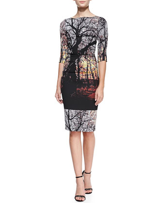 3/4-Sleeve Ruched-Side Landscape Sheath Dress