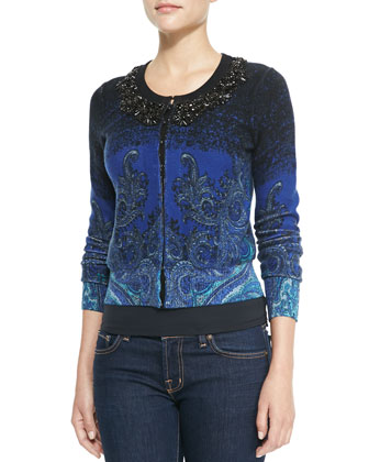Long-Sleeve Printed Beaded-Neck Cardigan