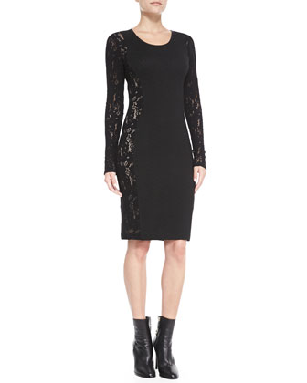 Long-Sleeve Lace-Side Sheath Dress