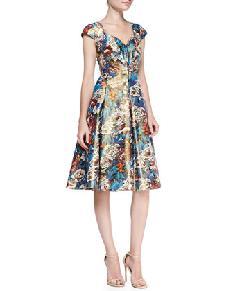 Cap-Sleeve Floral Metallic Dress