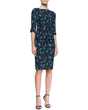 3/4-Sleeve Ruched-Waist Floral Sheath Dress