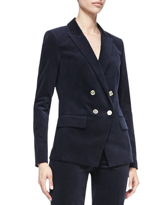 Double-Breasted Sateen Blazer