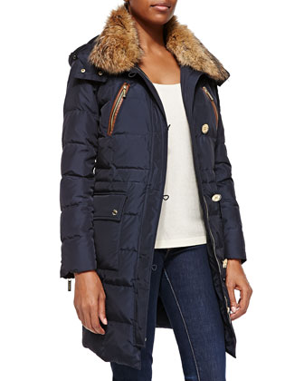 Fur-Trim Puffer Coat