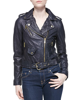 Cropped Leather Moto Jacket, New Navy