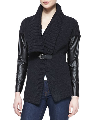 Leather-Sleeve Knit Cardigan & Scoop-Neck Slim Tank
