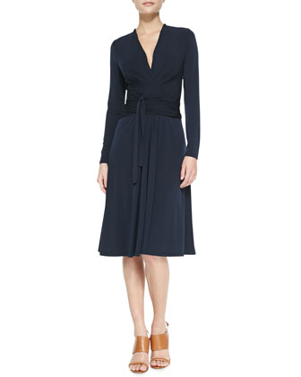 Long-Sleeve Faux-Wrap Jersey Dress