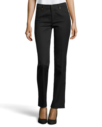Tessa Twill Ankle Pants, Black