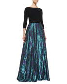 3/4-Sleeve Floral-Print Skirt Gown